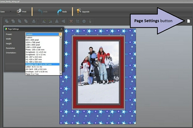 Page Formats for a Christmas Card